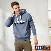 【JEEP】簡約保暖立體圖騰連帽TEE (灰藍)
