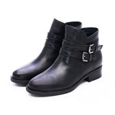MICHELLE PARK 率性時尚 雙層皮帶拉鍊低跟短靴-黑
