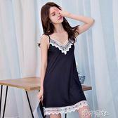 睡衣女夏季性感清新絲綢吊帶睡裙薄款繡花冰絲寬鬆大碼蕾絲家居服 港仔會社