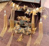 中式新娘頭飾金色秀禾服古裝頭飾龍鳳褂鳳冠流蘇步搖婚禮結婚配飾第七公社