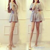 小香風V領蕾絲連身褲女新款夏闊腿短褲子高腰氣質連衣褲  凱斯盾數位3C