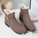 雪地靴 英倫風保暖加厚刷毛短筒靴子女冬季...