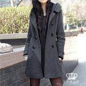 毛呢外套 連帽女中長款韓版大碼修身收腰加厚呢子大衣