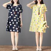 洋裝 連身裙 2019新款夏裝民族風棉麻中大尺碼印花寬鬆舒適短袖MM中長款連衣裙女