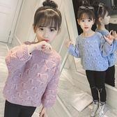 毛衣 韓版兒童女童中大童純色蝴蝶毛衣潮針織衫【小天使】