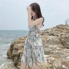 吊帶洋裝側耳傾聽夏季新款女碎花吊帶裙夏裝雪紡裙中長款海邊度假連身裙 PA16475『美好时光』