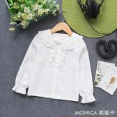 女童裝兒童純棉加絨襯衣春秋娃娃領荷葉邊白色長袖襯衫厚  莫妮卡小屋