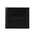 【FENDI】Logo壓印小牛皮對開8卡短夾(黑色) 7M0169 AFCL F0GXN