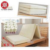 【C est Chic】日式三折獨立筒彈簧床墊5尺(可收納拆洗)-鵝黃
