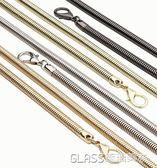 鍊條包包帶子女士小包鍊子肩帶蛇骨鍊斜背包鍊條帶金屬鍊配件    琉璃美衣