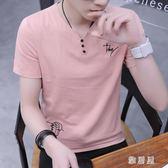 夏季男士V領短袖t恤潮流款修身半袖體恤帥氣夏裝上衣服 YC899【雅居屋】