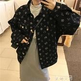 牛仔外套女春秋2021新款韓版時尚印花圖案百搭寬鬆學生夾克上衣潮
