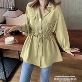 polo衫 秋裝新款襯衫女韓版中長款系帶長袖雪紡襯衣設計感小眾T恤上衣潮 萊俐亞
