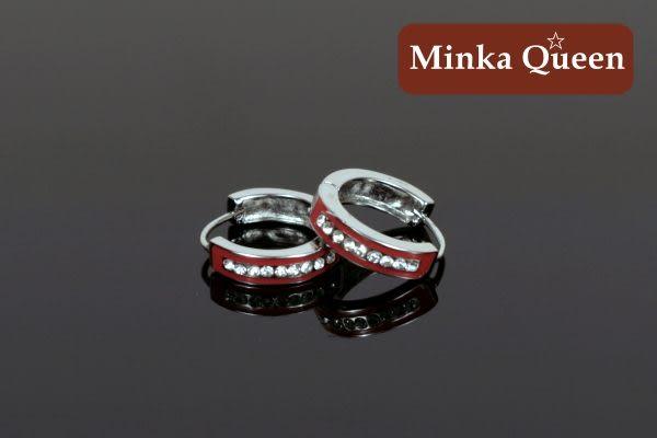德國鈦鋼 單排鑽造型 精緻水鑽抗敏易扣耳環(一對)(16 mm)