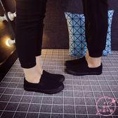 售完即止-單鞋帆布鞋全黑色休閒鞋一腳蹬懶人布鞋舒適透氣工作鞋5-18(庫存清出T)