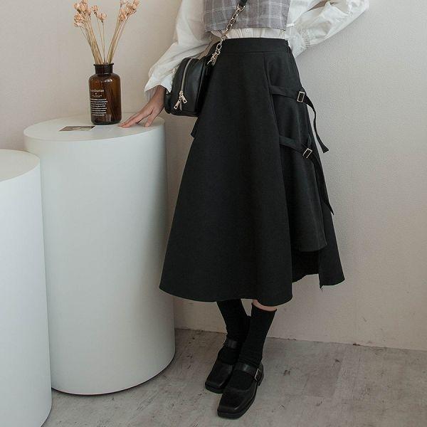 MIUSTAR 側邊雙釦環鬆緊混絨料A字長裙(共1色)【NH2338】預購