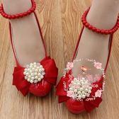 高跟漆皮婚鞋 手工定制蝴蝶結珍珠水鉆婚鞋防水臺紅色鞋