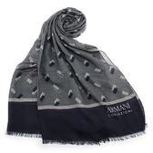 ARMANI COLLEZIONI 滿版千鳥紋幾何綴飾披肩圍巾(深藍色)102809