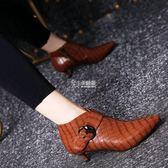 中跟女鞋秋冬 皮帶扣尖頭短靴女秋冬新款細跟中跟女靴裸靴及踝靴小跟女鞋 卡菲婭