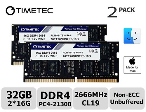 Timetec Hynix IC 32GB KIT(2x16GB)相容Apple 2019 iMac 27吋Retina 5K顯示屏 Mac Mini