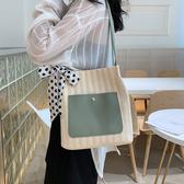 托特包女 洋氣包包編織女包春季新款2020流行單肩包大容量女 艾維朵