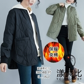 【YOUNGBABY中大碼】小立領雙大口袋下開叉弧型車線夾棉外套.共2色