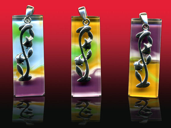 鹿港窯~開運古法水晶琉璃銀飾項鍊~相約開花季節 附精美包裝◆免運費送到家