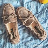 豆豆鞋女2019秋冬新款加絨一腳蹬懶人鞋大碼孕婦平底軟底蛋捲棉鞋 朵拉朵