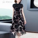 休閒洋裝改良旗袍式連身裙夏季新款顯瘦優雅氣質大碼中國風碎花洋氣裙子女 快速出貨