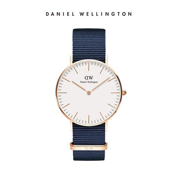 Daniel Wellington DW 手錶 36mm玫瑰金框 Classic 星空藍織紋手錶