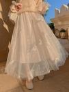 網紗裙 網紗半身裙2021新款春女中長款長裙白色裙子冬季仙女裙超仙紗裙【快速出貨八折鉅惠】