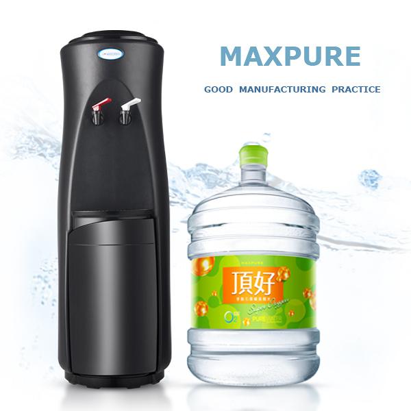 麥飯石涵氧水+頂好桶裝水落地型溫熱飲水機 勁黑款