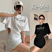 克妹Ke-Mei【ZT65812】VINIAC時髦心機女側拉鍊摟空寬鬆造型T恤