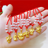 項錬項錬女可愛老鼠吊墜項錬十二生肖老鼠紅繩項錬仿黃金鍍金飾品 小宅妮