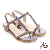A.S.O 嬉皮假期 金屬鍊條拼接牛皮T字涼鞋 淺紫