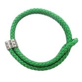 BOTTEGA VENETA 寶緹嘉 綠色牛皮編織手環【二手名牌 BRAND OFF】