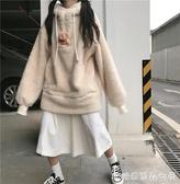 連帽衛衣外套女-深秋矮小個子穿搭兩件套韓版羊羔絨衛衣毛茸茸連帽外套  糖糖日系