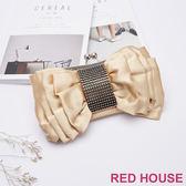 Red House 蕾赫斯-水鑽蝴蝶結晚宴包(金色)