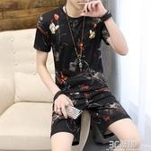短袖t恤男士短褲夏季韓版潮流休閒2020新款套裝男裝一套衣服搭配 中秋節免運