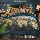 床裙珊瑚絨四件套冬加厚金貂絨床單床上雙面法萊絨被套床笠法蘭絨 js11089『科炫3C』