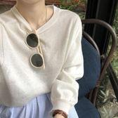 雪紡上衣  女裝寬鬆復古長袖針織衫百搭圓領套頭T恤純色打底衫上衣  都市時尚