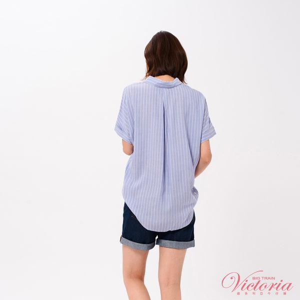 Victoria 半開襟落肩寬鬆短袖T-女-霧灰粉/藍底白條