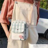 包包 慵懶風帆布包斜挎可愛小包包女日系格子ins 原創小眾設計感單肩包 韓慕精品