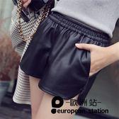 短褲/pu皮褲女寬鬆高腰休閒闊腿褲「歐洲站」