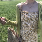 夏季新款復古木耳邊連身裙韓版褶皺荷葉花色吊帶裙女
