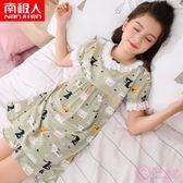 女童睡裙夏季薄款棉質短袖兒童睡衣寶寶公主母女親子小女孩家居服