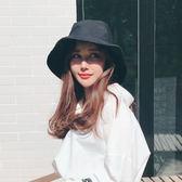 韓版純色大檐帽漁夫帽防曬遮陽太陽帽子女