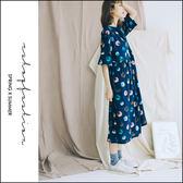 長版衫  印象油彩波點棉麻洋裝   單色-小C館日系