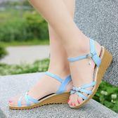 涼鞋女夏季新款韓版中跟坡跟女鞋百搭一字扣厚底平底女士涼鞋  蒂小屋服飾
