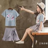 套裝女童夏裝套裝2019新款韓版時尚時髦洋氣中大童兒童夏季裝套裝裙潮
